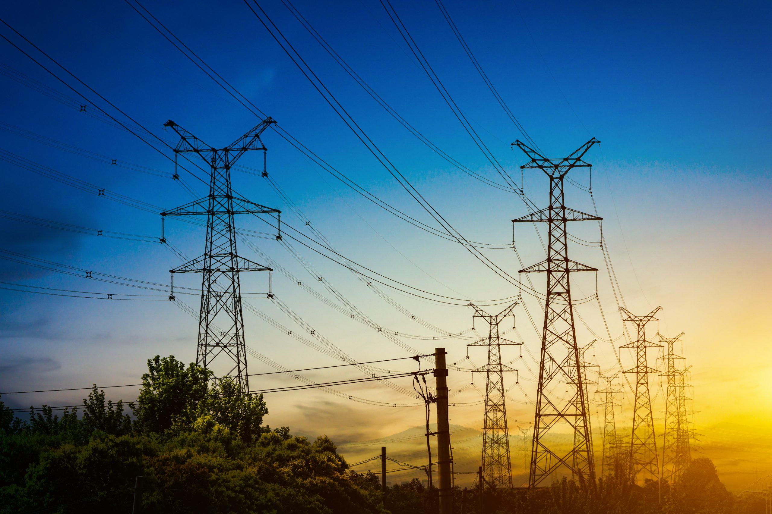 Telecoms pylons at sunset